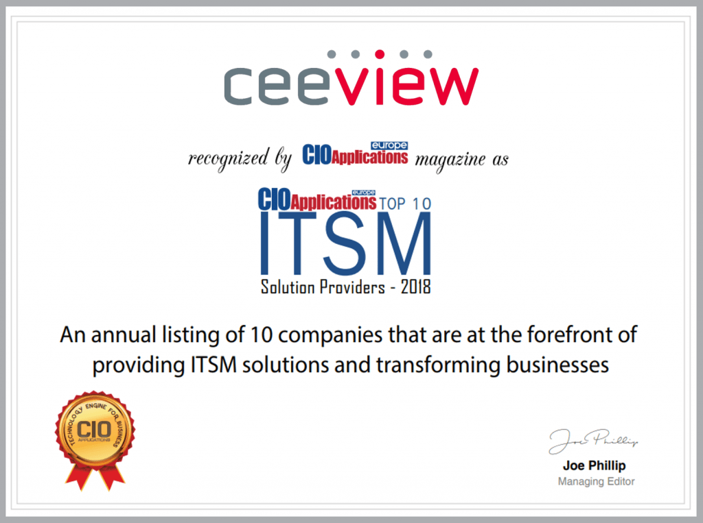Ceeview award - Top ITSM Solution